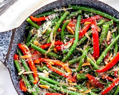 Overhead shot of the cooked green beans in a skillet.