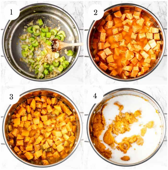 Four step by step photos showing how to make the soup.