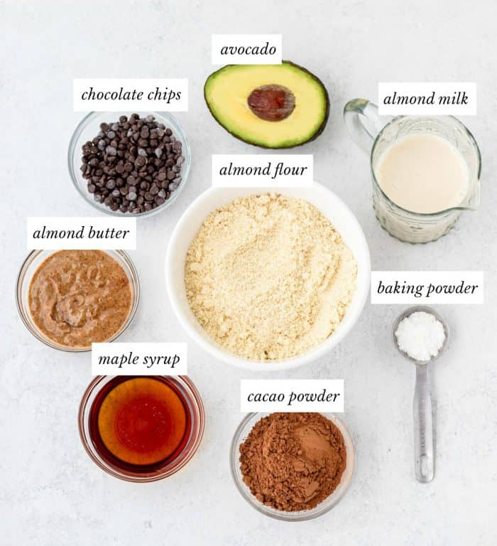 ingredients for almond flour brownies with labels