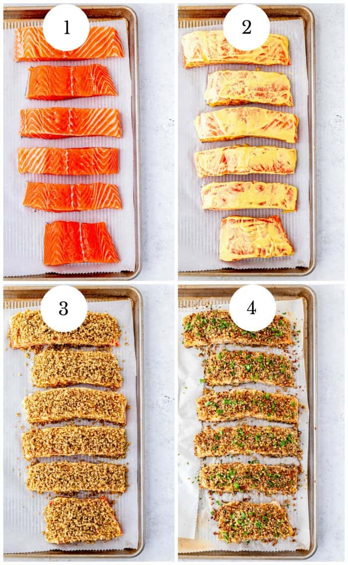 Four step by step photos to show how to make the salmon.