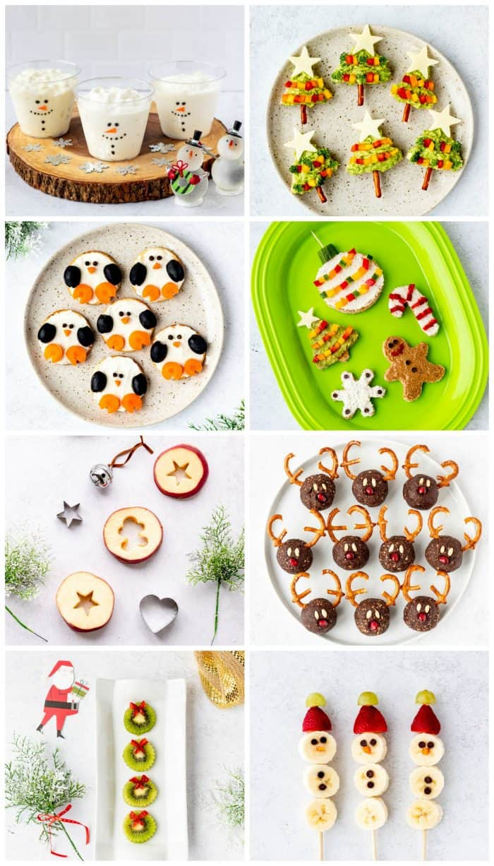 collage of healthy christmas snacks for kids