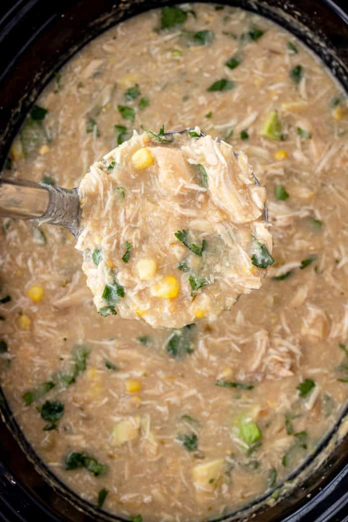 White chicken chili on a ladle over a slow cooker.
