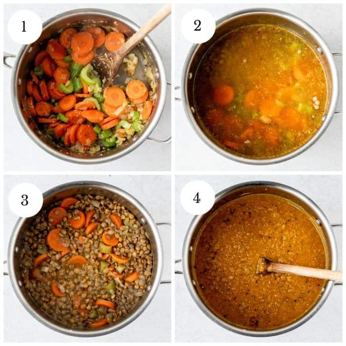 Vier Schritt-für-Schritt-Fotos zeigen, wie man die Suppe macht.
