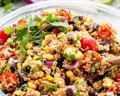 Southwestern quinoa salad served in a bowl.