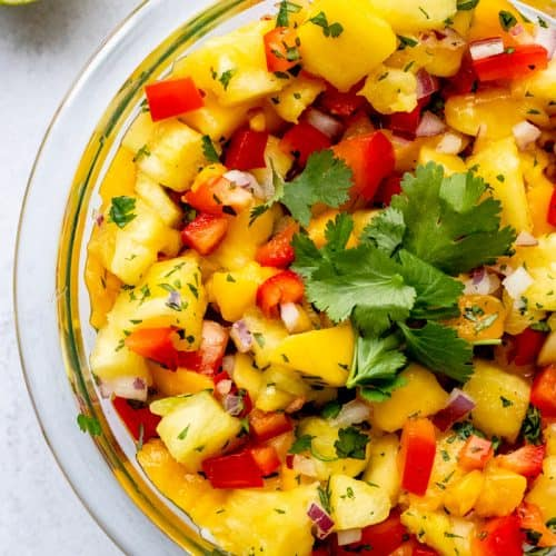Tropical salsa topped with fresh cilantro.