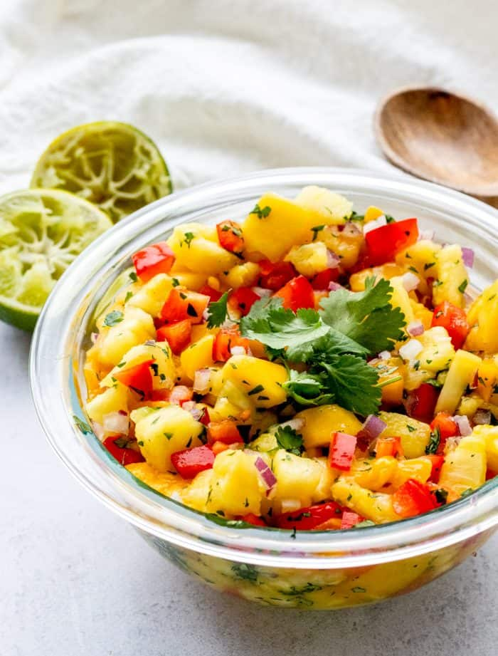 Fruit salsa served in a bowl.