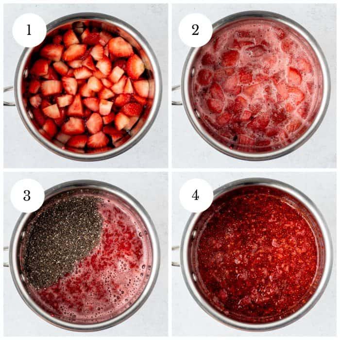 Four step by step photos to show how to make the jam.