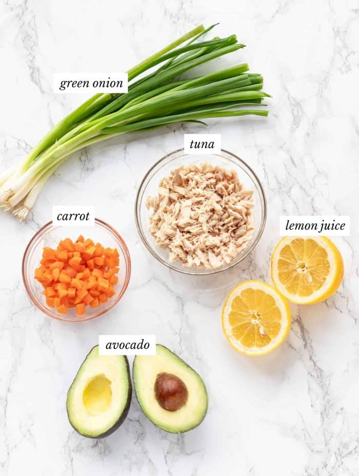 Ingredients for tuna salad with labels on marble background