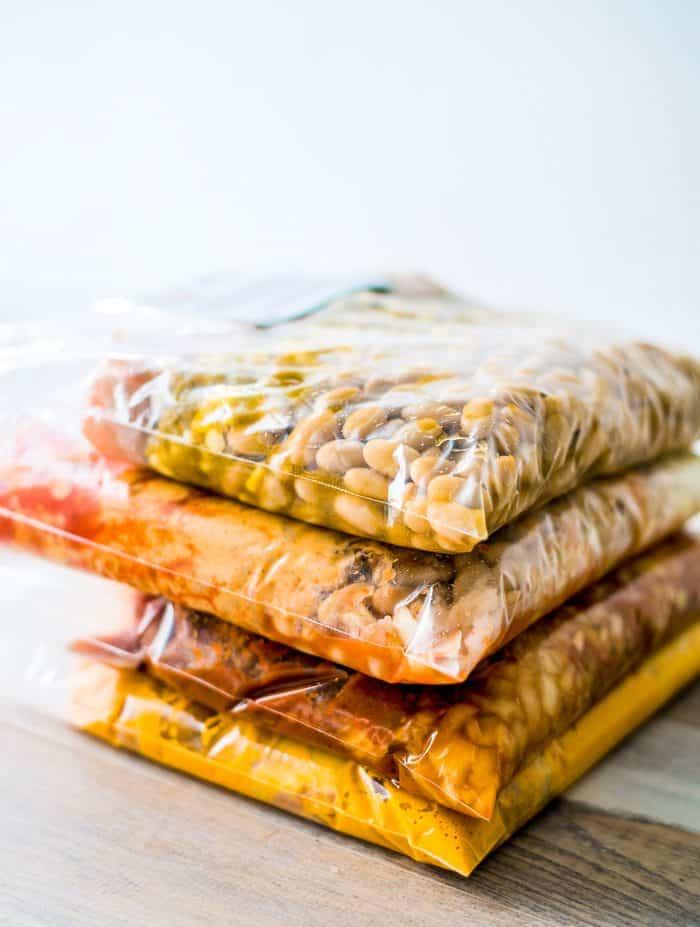 stack of freezer meals in ziploc bags