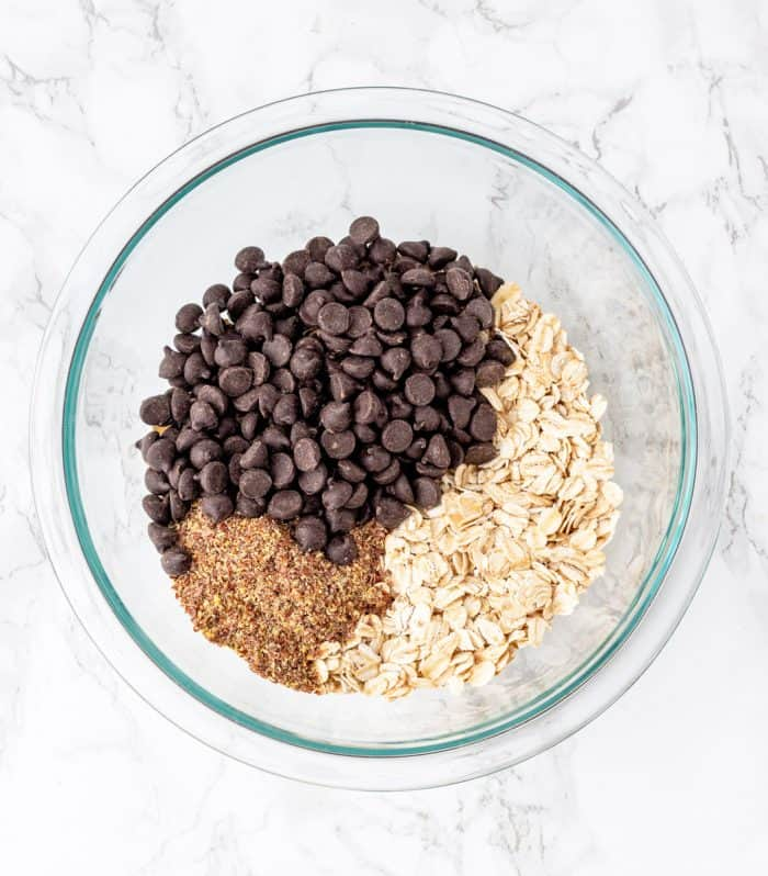 Dry ingredients for energy balls in bowl