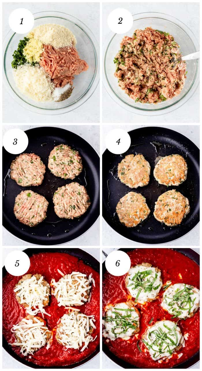 Six step by step photos to show how to make the recipe.