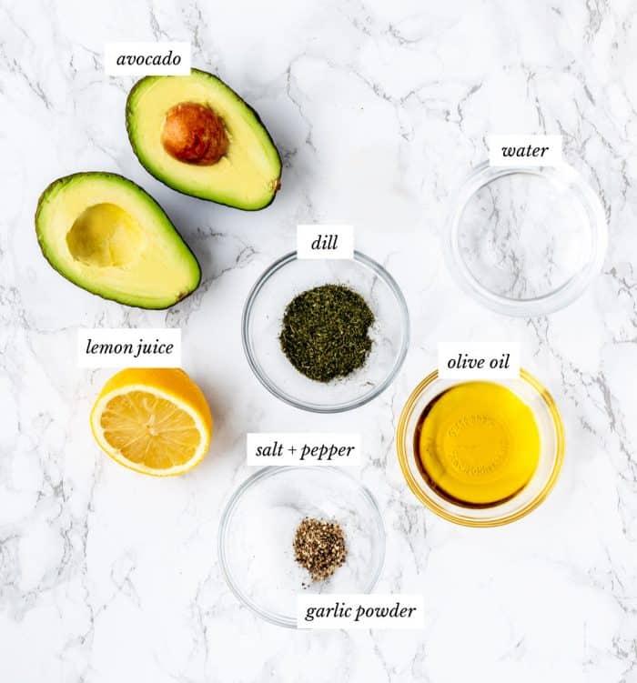 Ingredinets to make the avocado crema.