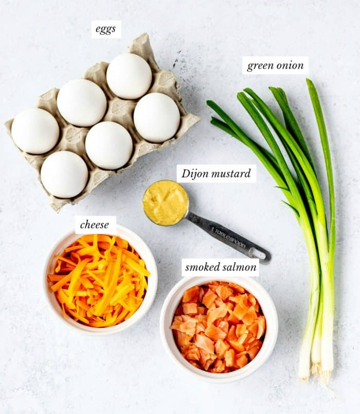 Ingredients to make the mini egg muffins.