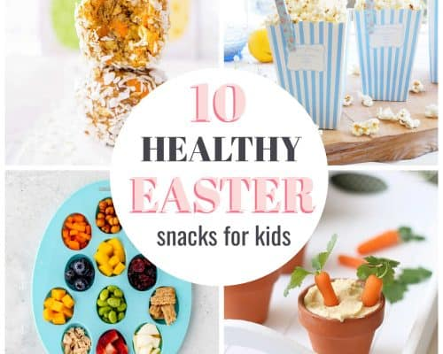 collage of healthy Easter snack ideas