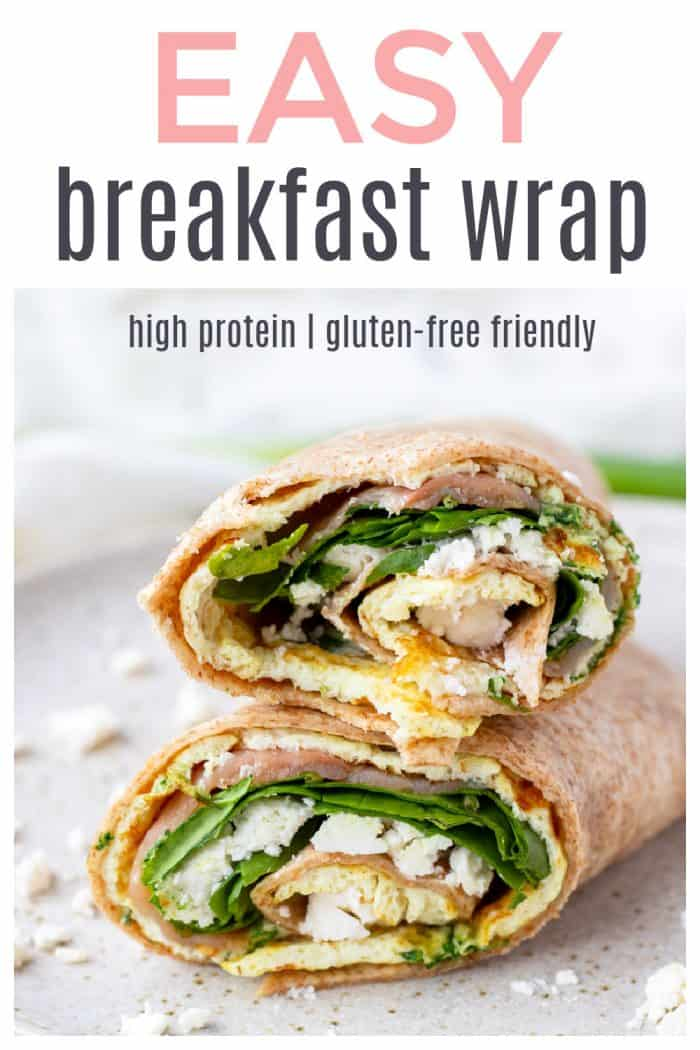 "A photo showing the filling of the smoked salmon wrap with text overlay ""easy breakfast wrap"""