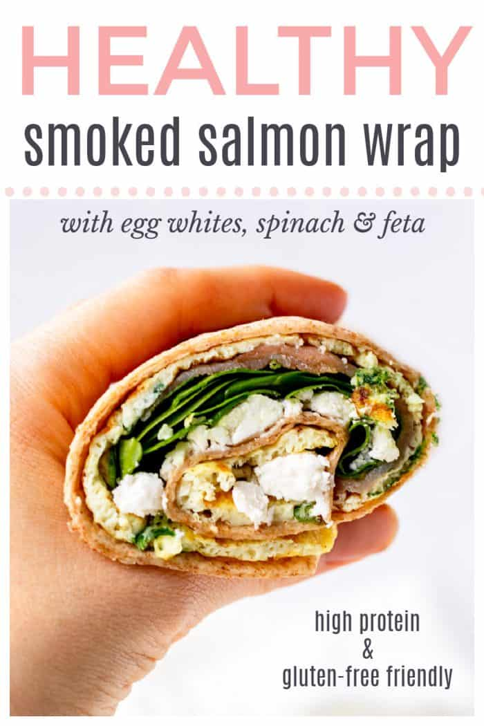 "A hand holding a wrap with text overlay ""healthy smoked salmon wrap"""