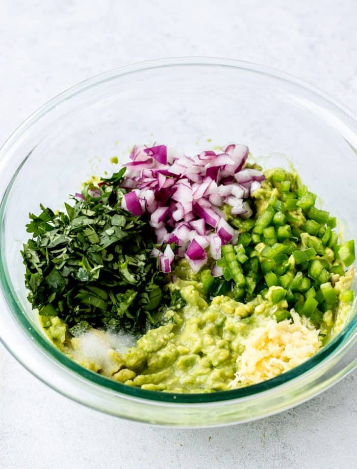 The ingredinets in a bowl before being mixed.