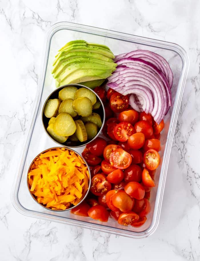 Salad toppings in a meal prep container