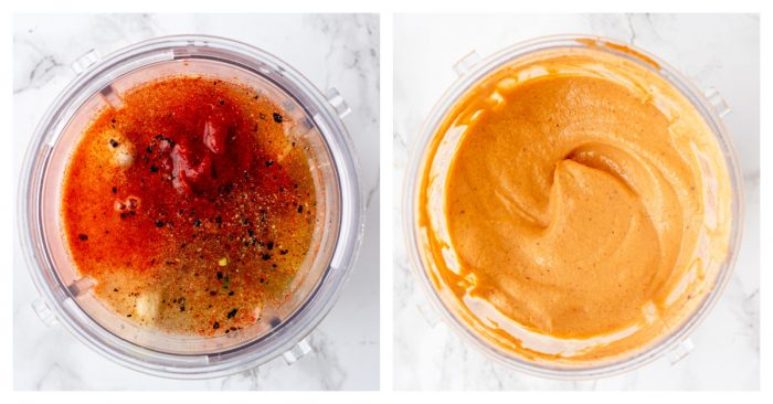 The special sauce before and after blending.