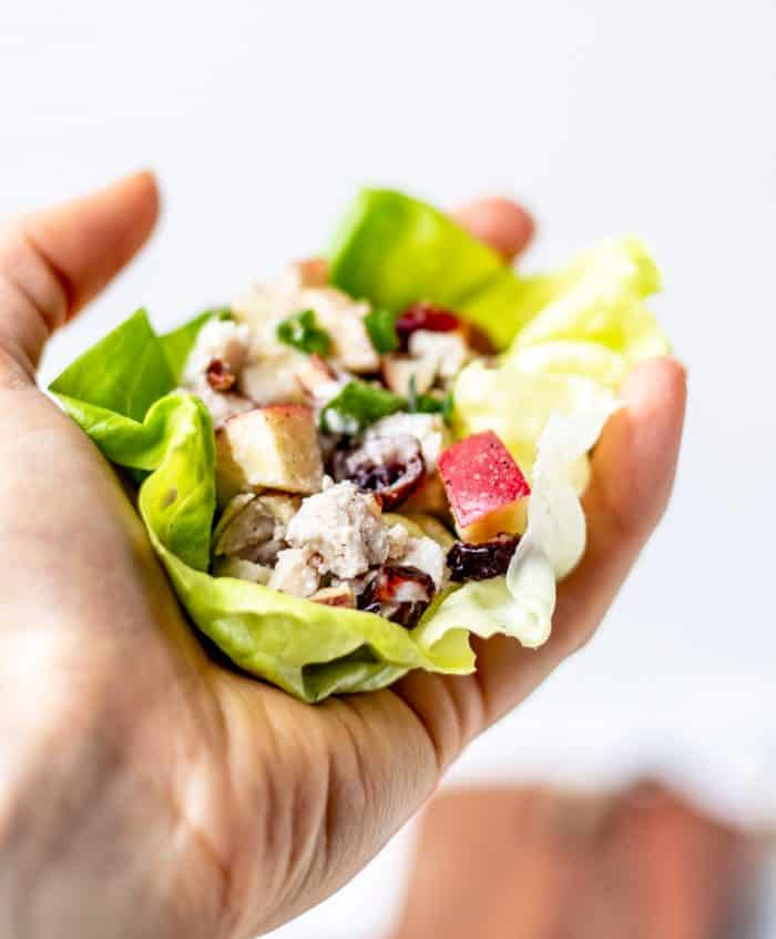 A hand holding a lettuce wrap filled with cranberry chicken salad.