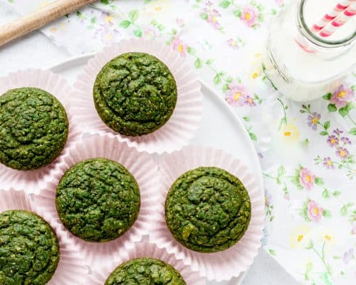 overhead shot of green monster muffins on plate with milk and a wooden spoon