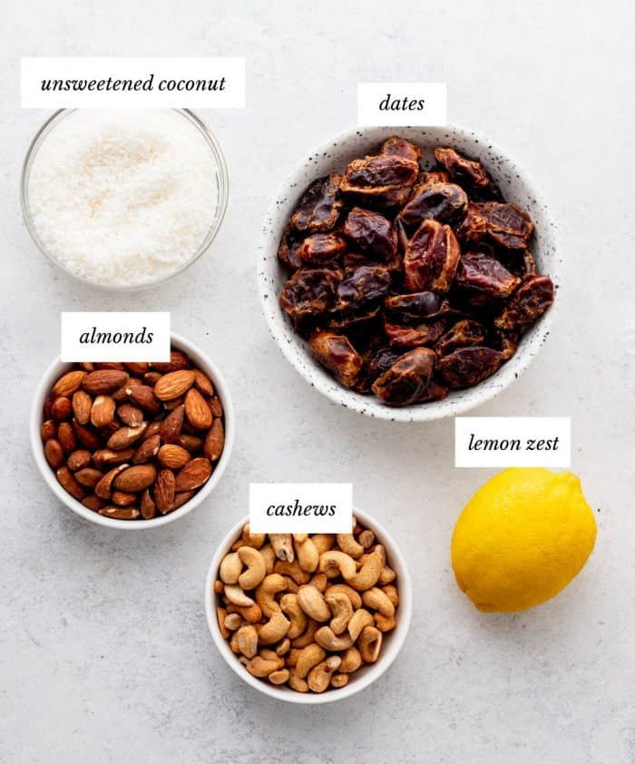 Ingredients to make the no bake bars in bowls.