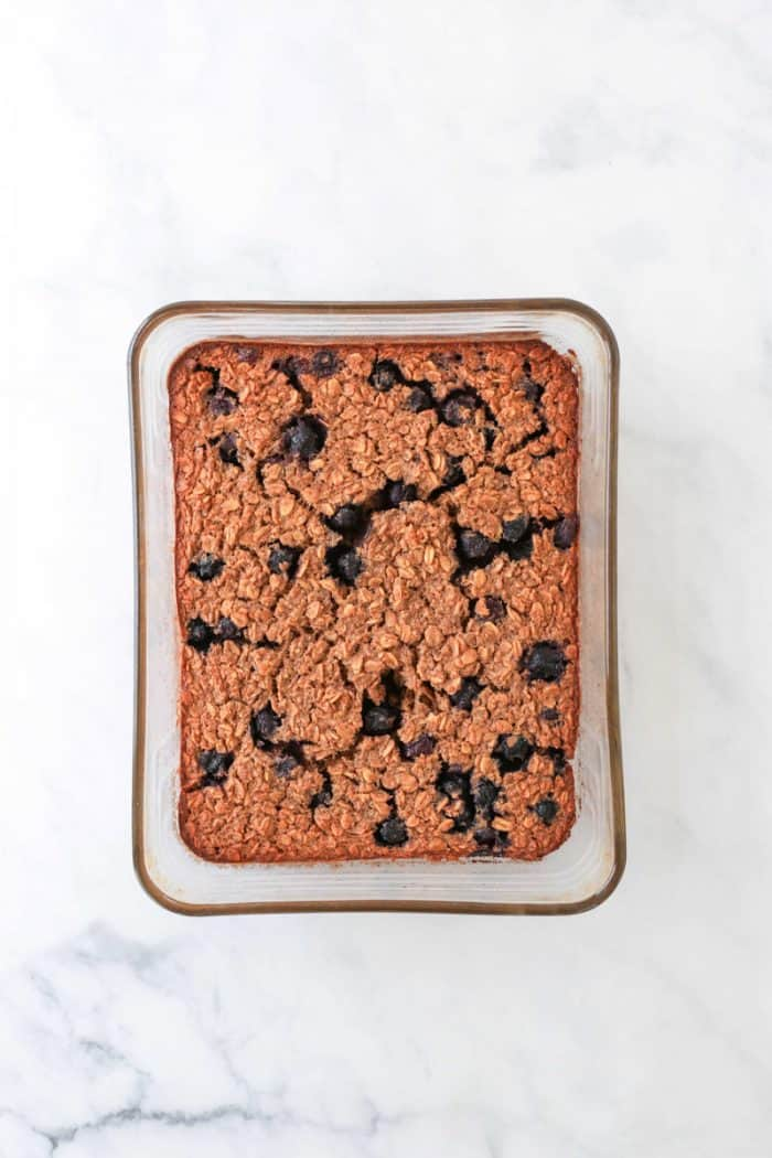 The baked oatmeal in a glass dish.
