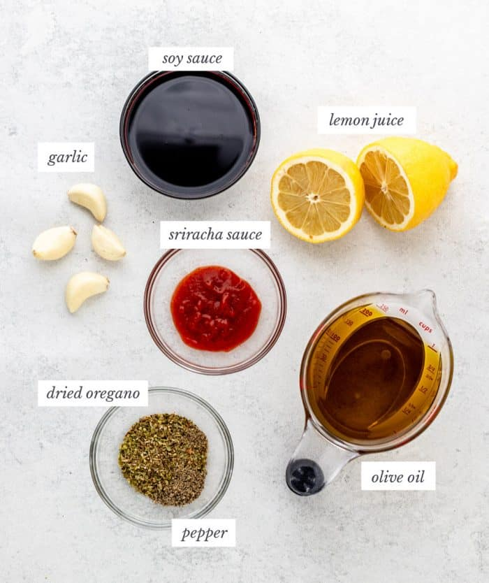 Ingredients for the easy steak marinade.