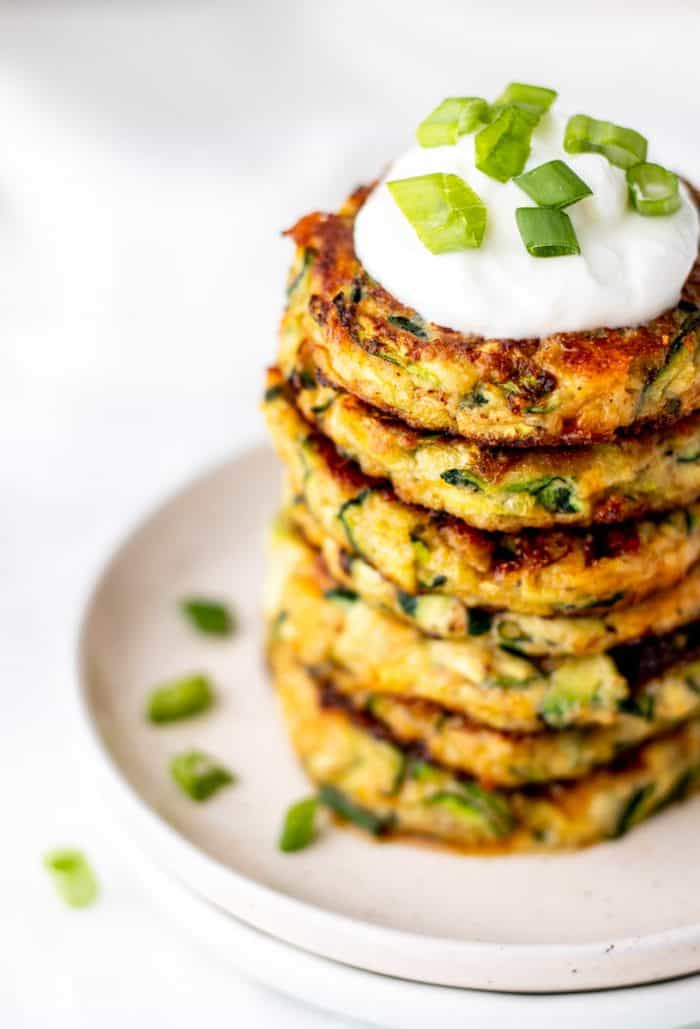 Close up of healthy zucchini fritters.
