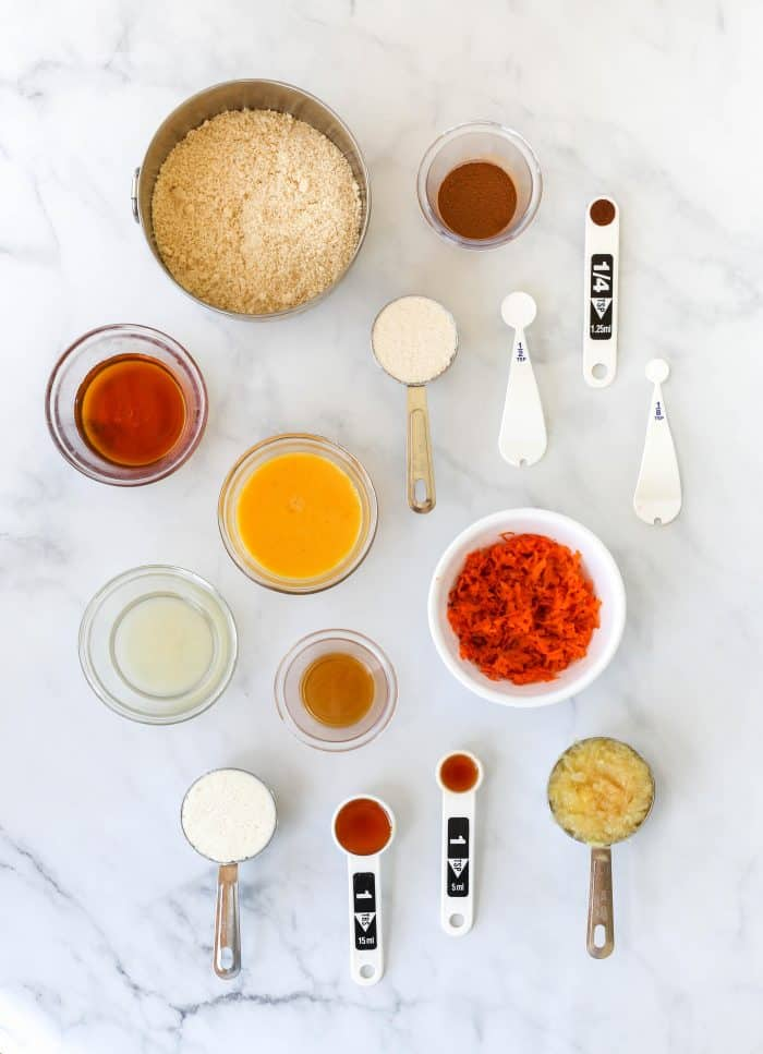 Ingredients to make the healthy muffins.