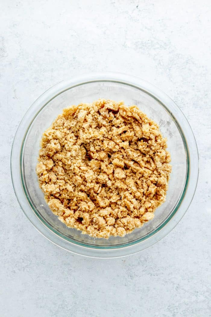 The crumble ingredients mixed together in a bowl.