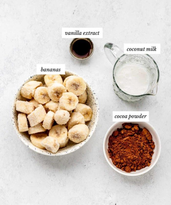 Ingredients to make the chocolate banana ice cream recipe.