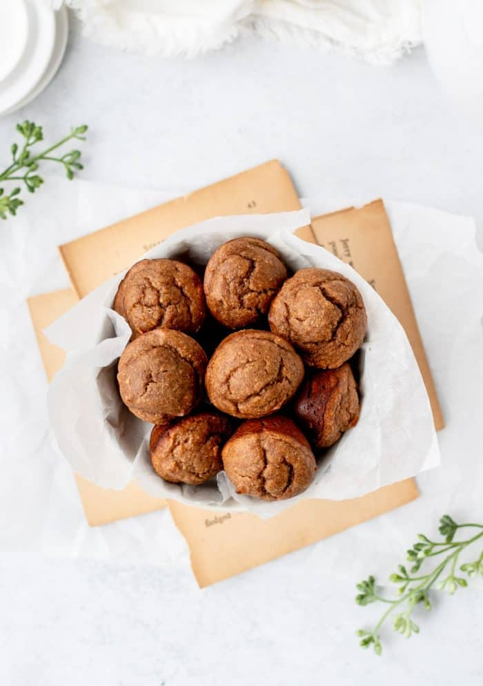 Overhead shot of a bowl of muffins.