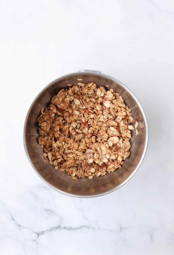 The crumble topping mixed together in a bowl.