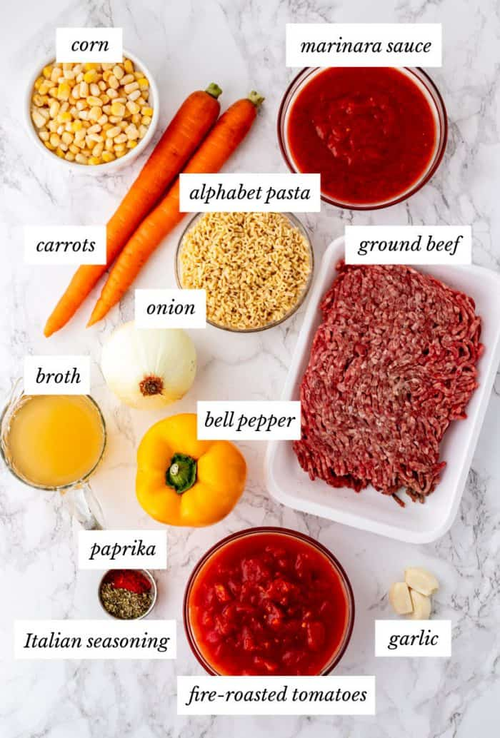 Ingredients to make the soup.