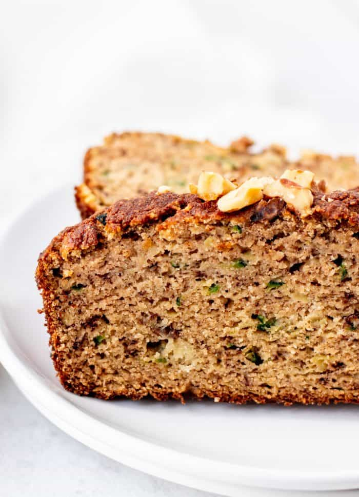 Close up of a slice of the banana zucchini bread.
