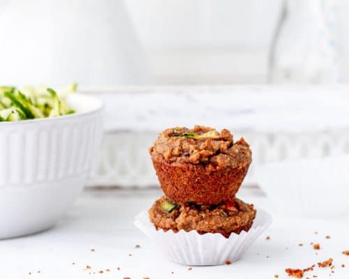Two muffins stacked on top of each other.