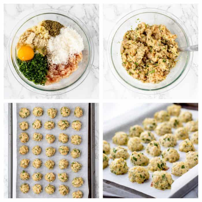 Four photos to show how to make chicken meatballs.