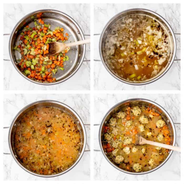 Four photos to show how to make the soup.