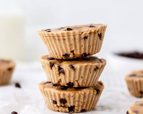 Chickpea cookie dough bites next to chocolate chips.
