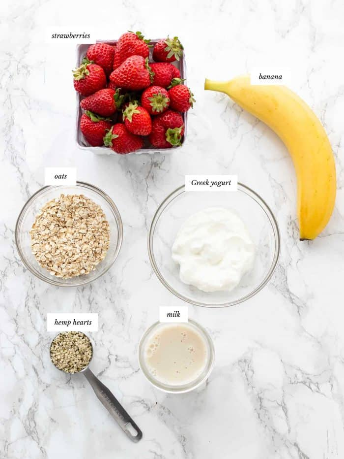 Ingredients for strawberry banana smoothie recipe