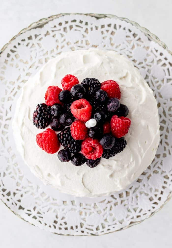 Overhead shot of fresh berries on top of the smash cake.