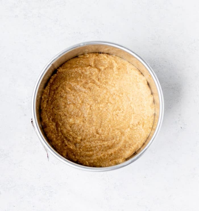 The cake batter in a baking tin.