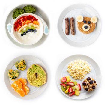 Four healthy kid friendly breakfast ideas on a white background