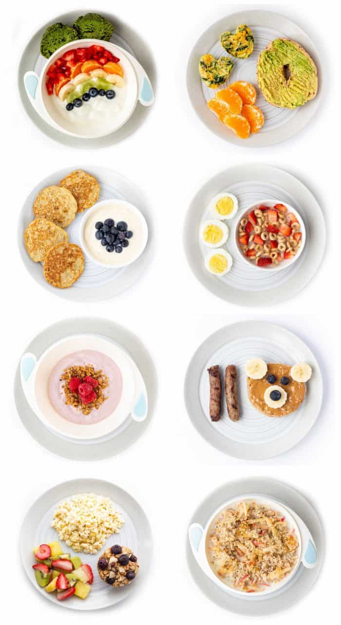 Collage of 8 healthy breakfast ideas for kids on plates