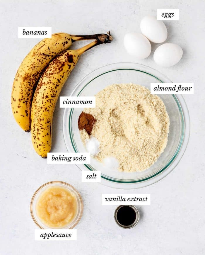 ingredients for banana smash cake recipe on white background with labels