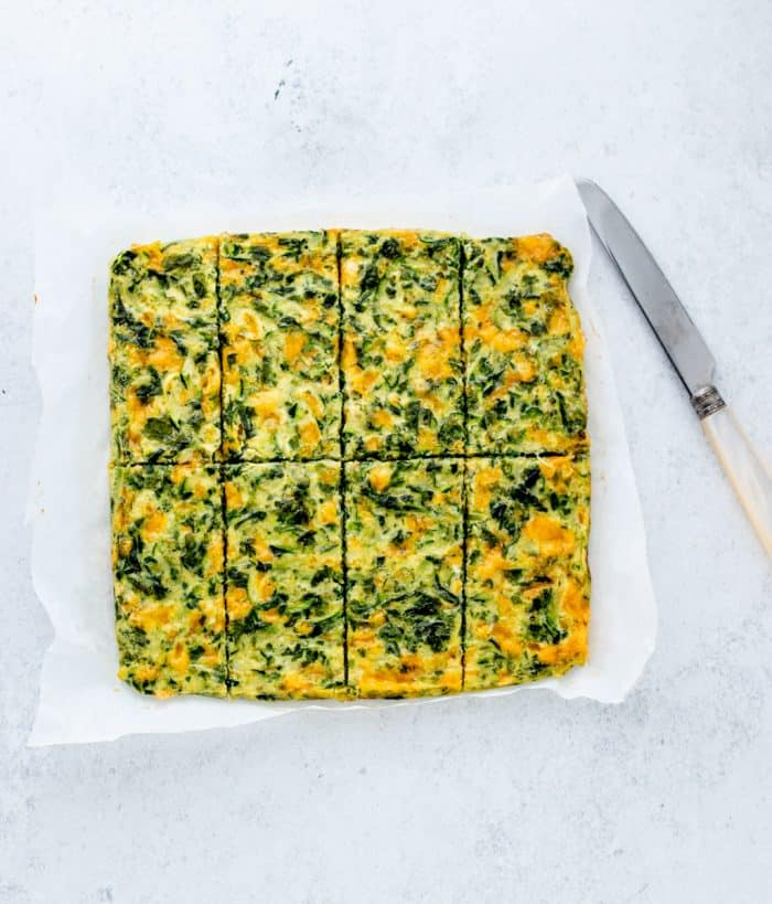 The baked frittata cut into fingers.
