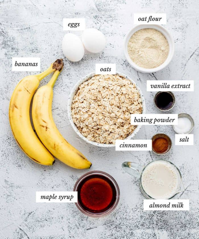 Ingredients for the muffins on a grey background with labels