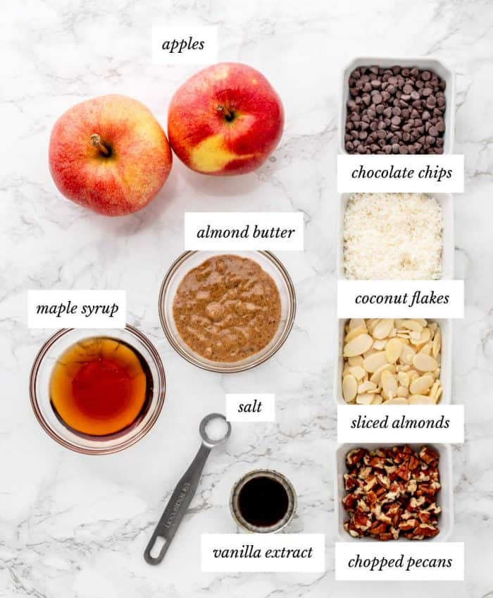 Ingredients to make the recipe on a marble background with labels
