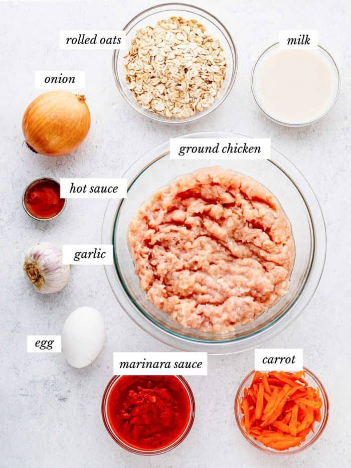 ingredients for chicken muffins on grey background with labels